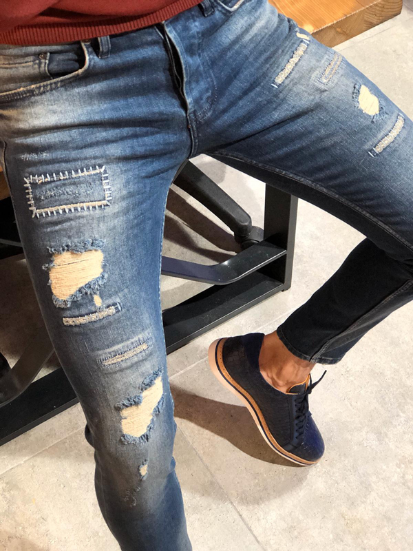 Navy Blue Slim Fit Distressed Jeans by GentWith.com with Free Worldwide Shipping