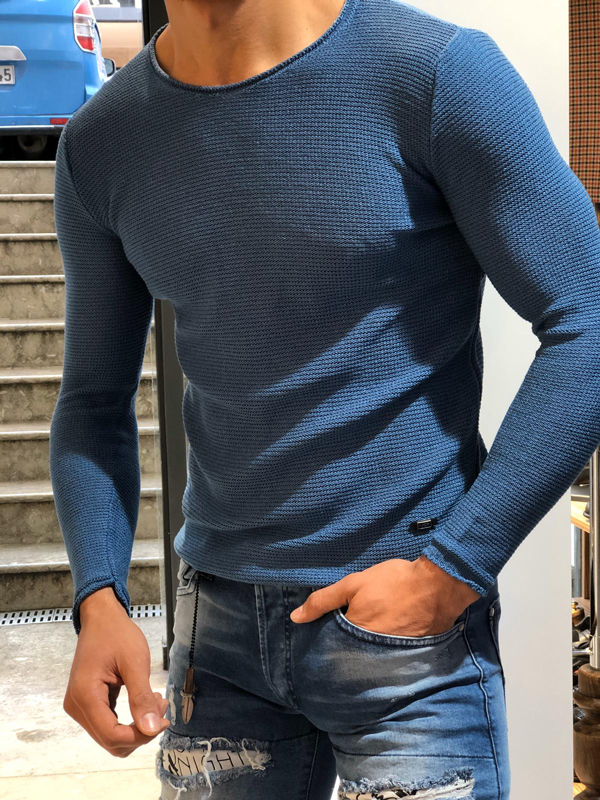 Indigo Slim Fit Round Neck Sweater by GentWith.com