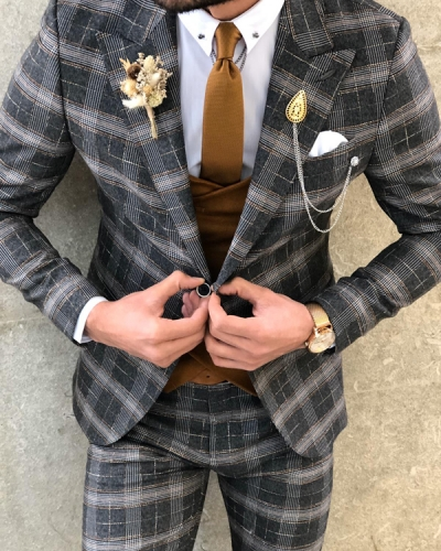 Black Slim Fit Glen Plaid Suit by GentWith.com