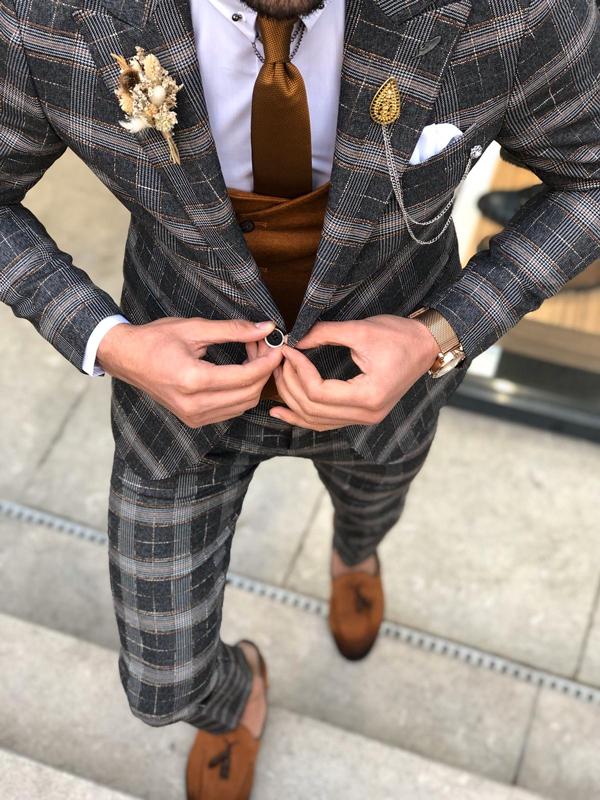 Black Slim Fit Glen Plaid Suit by GentWith.com