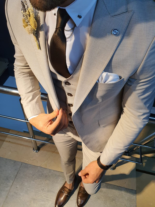 Ivory Slim Fit Suit by GentWith.com with Free Worldwide Shipping