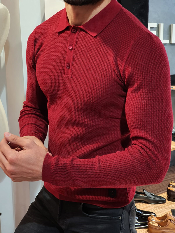 Burgundy Slim Fit Collar Sweater by GentWith.com with Free Worldwide Shipping