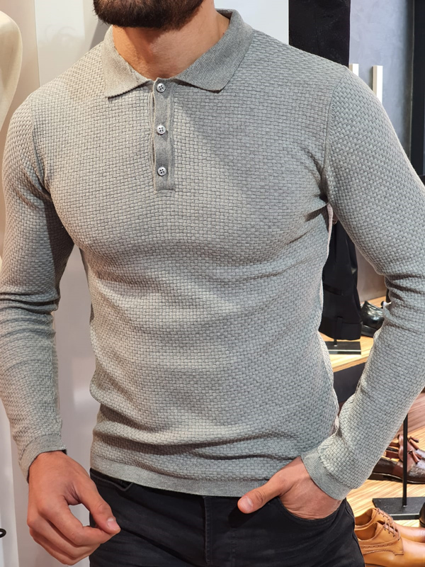 Gray Slim Fit Collar Sweater by GentWith.com with Free Worldwide Shipping