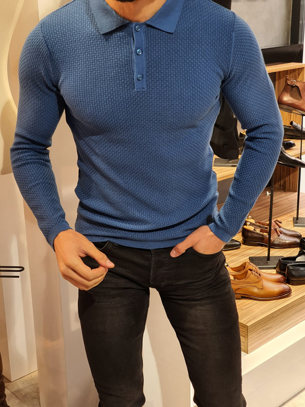 Indigo Slim Fit Collar Sweater by GentWith.com with Free Worldwide Shipping