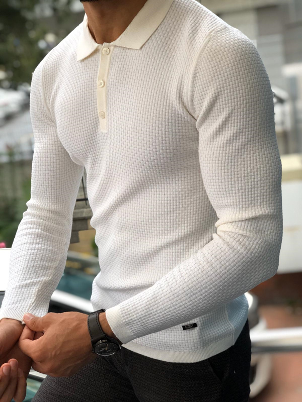 White Slim Fit Collar Sweater by GentWith.com with Free Worldwide Shipping