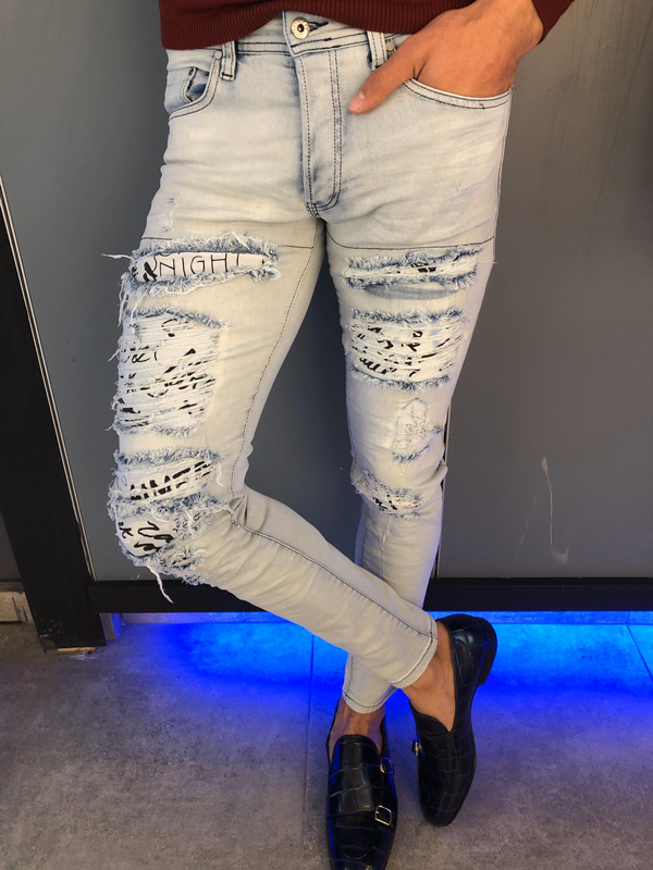 Light Blue Slim Fit Ripped Jeans by GentWith.com with Free Worldwide Shipping