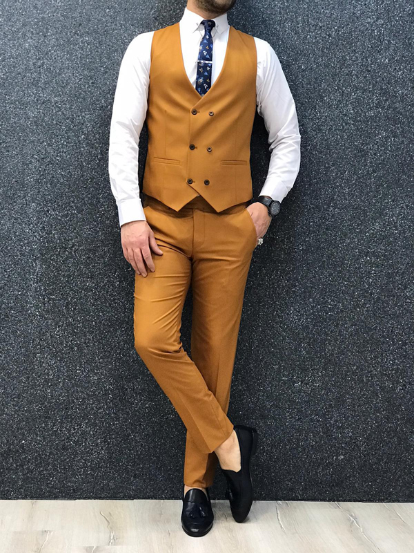 Mustard Slim Fit Suit by GentWith.com with Free Worldwide Shipping