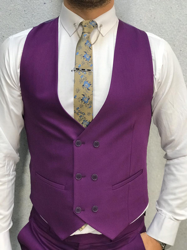 Purple Slim Fit Suit by GentWith.com with Free Worldwide Shipping