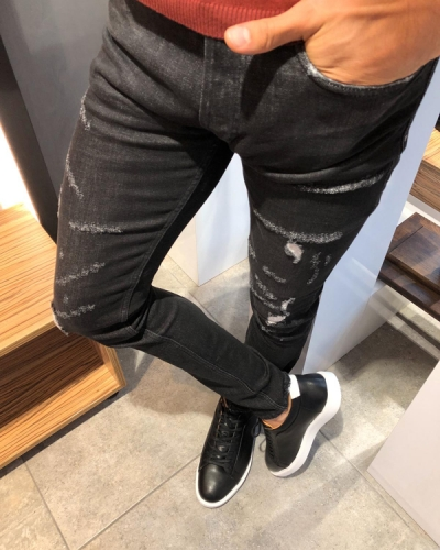 Black Slim Fit Ripped Jeans by GentWith.com