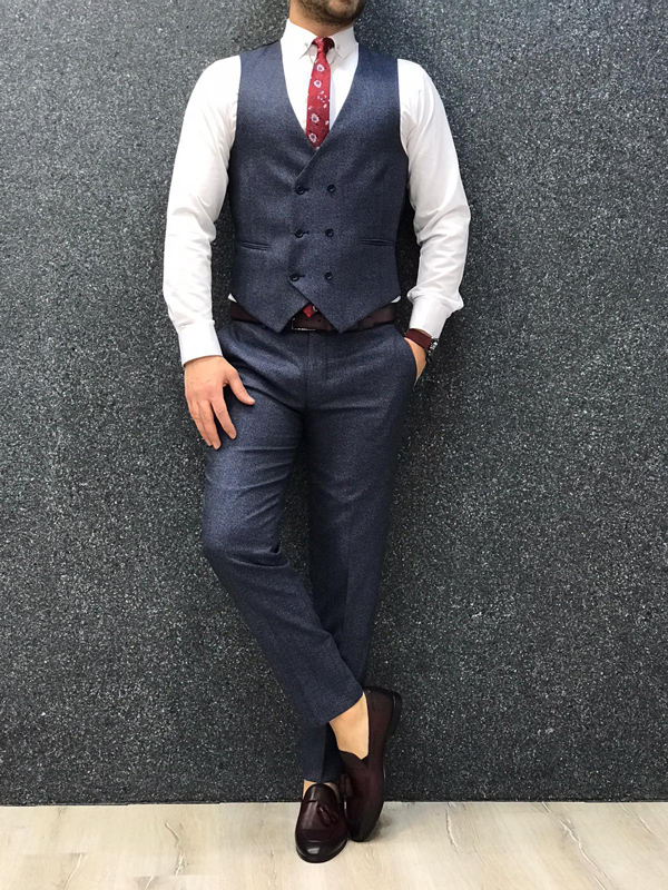 Navy Blue Slim Fit Wool Suit by GentWith.com with Free Worldwide Shipping