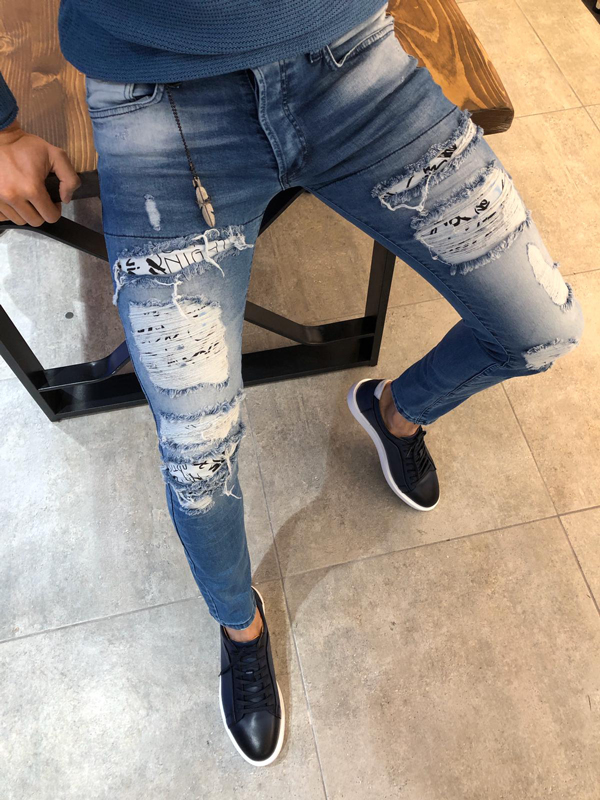 Blue Slim Fit Ripped Jeans by GentWith.com