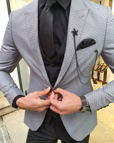 Gray Slim Fit Patterned Suit by GentWith.com with Free Worldwide Shipping