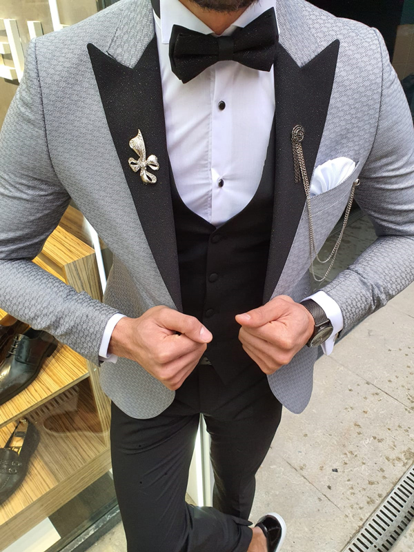 Gray Slim Fit Patterned Tuxedo by GentWith.com with Free Worldwide Shipping