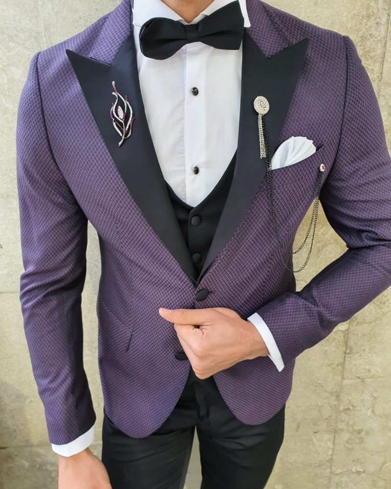 Purple Slim Fit Patterned Tuxedo by GentWith.com with Free Worldwide Shipping