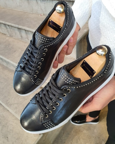 Black Lace-Up Sneakers by GentWith.com with Free Worldwide Shipping