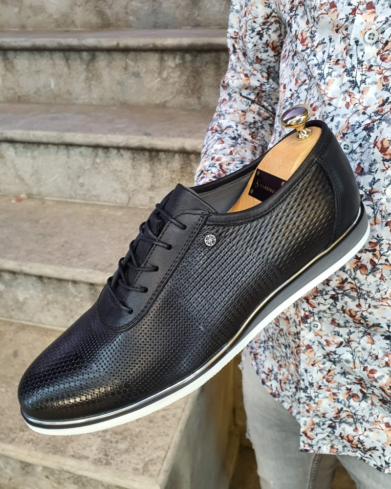 Black Patterned Lace-Up Sneakers by GentWith.com with Free Worldwide Shipping