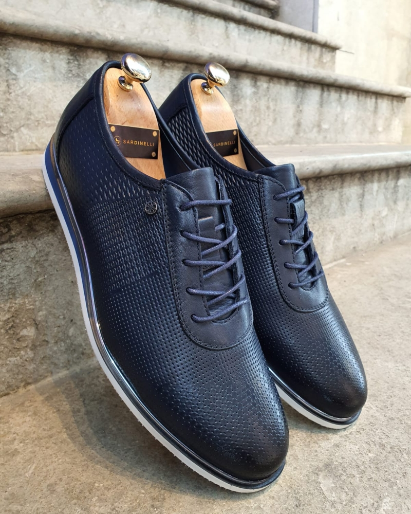 Dark Blue Patterned Lace-Up Sneakers by GentWith.com with Free Worldwide Shipping
