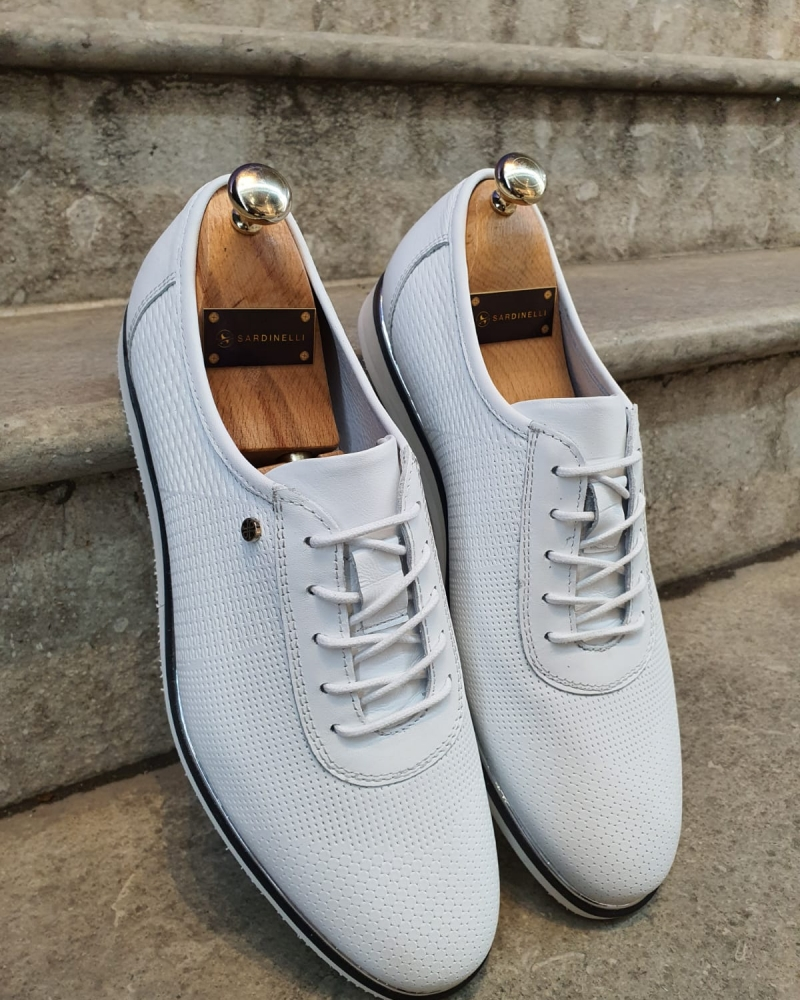 White Patterned Lace-Up Sneakers by GentWith.com with Free Worldwide Shipping
