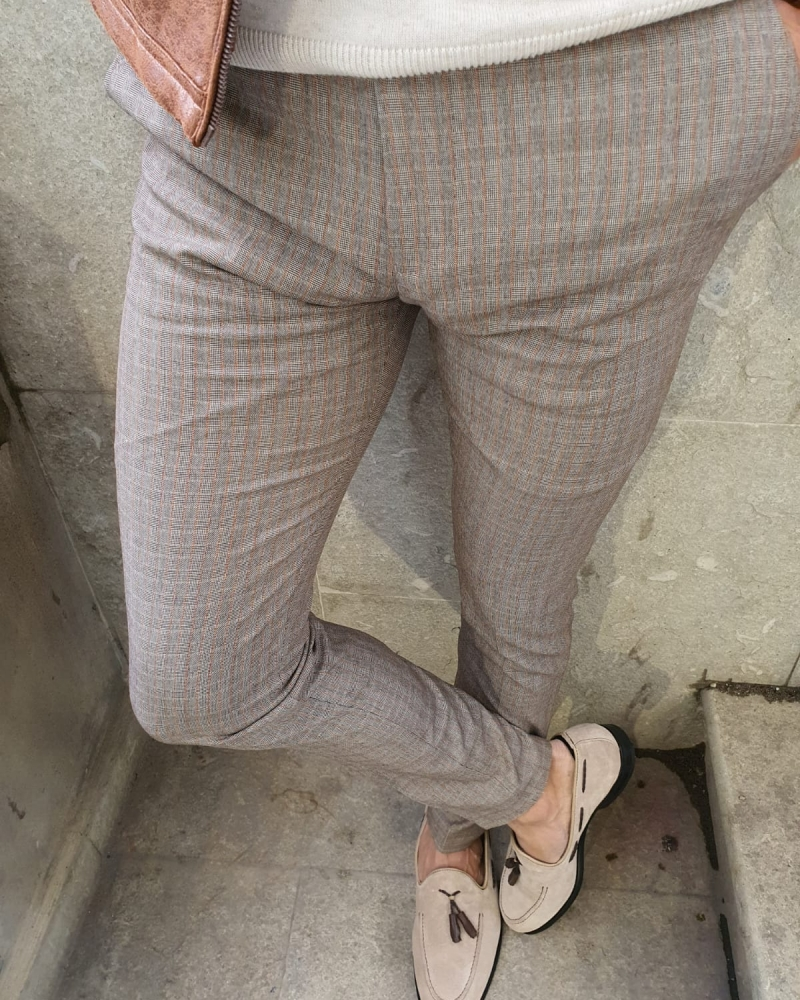 Beige Slim Fit Plaid Pants by GentWith.com with Free Worldwide Shipping