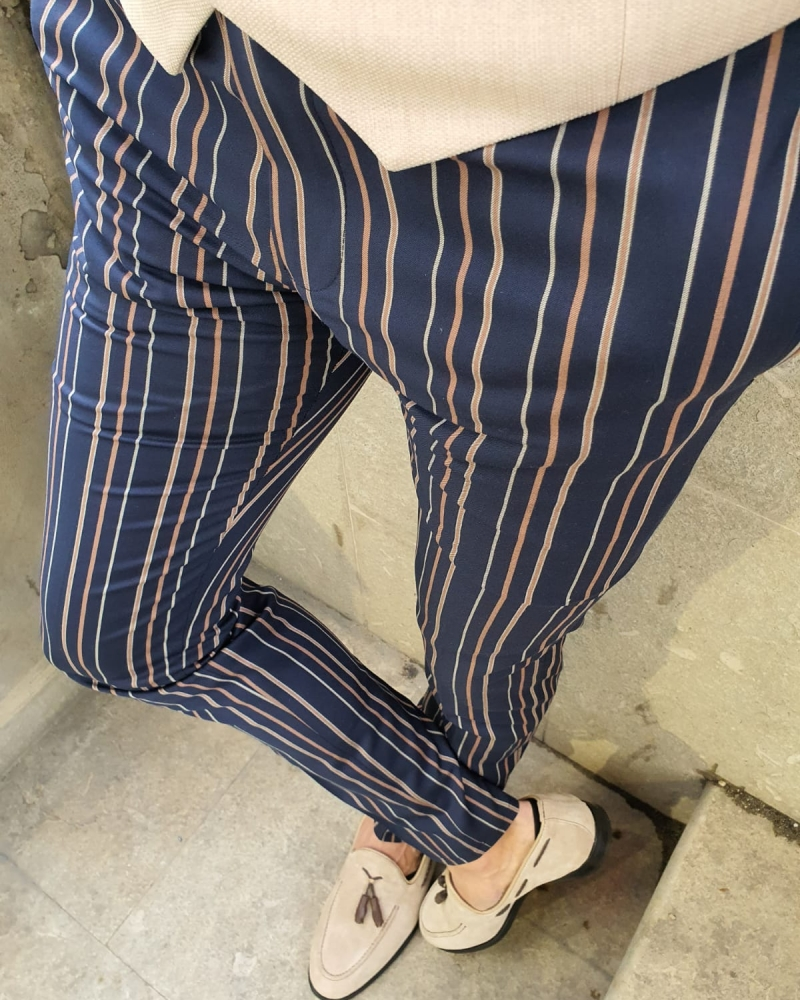 Dark Blue Slim Fit Chalk Stripe Pants by GentWith.com with Free Worldwide Shipping