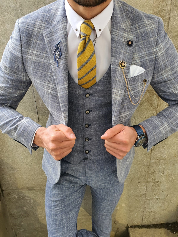 Light Blue Slim Fit Plaid Suit by GentWith.com with Free Worldwide Shipping
