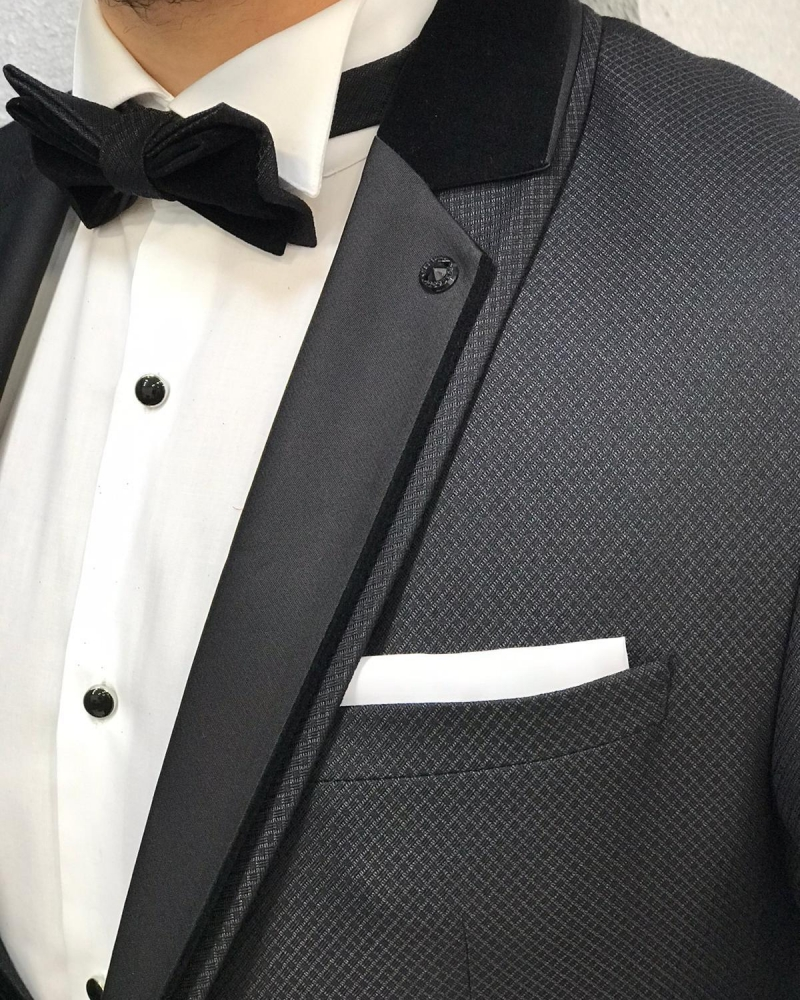Black Slim Fit Stony Lapel Tuxedo by GentWith.com with Free Worldwide Shipping