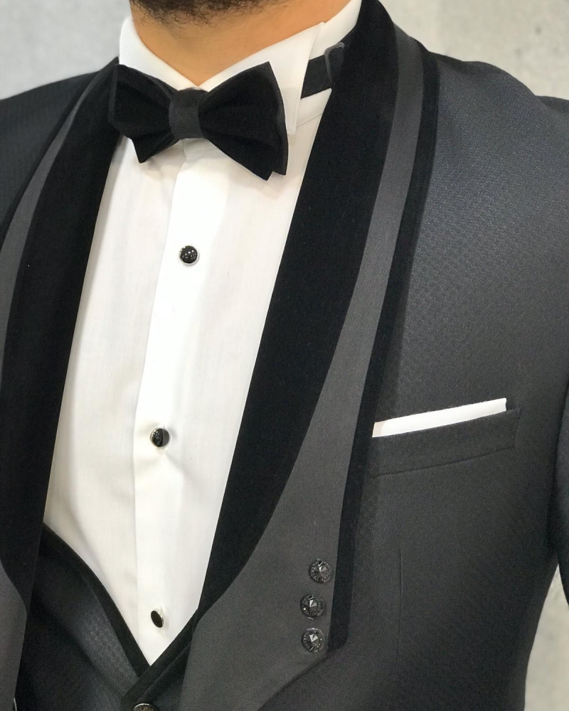 Black Slim Fit Velvet Stony Lapel Tuxedo by GentWith.com with Free Worldwide Shipping