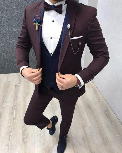 Claret Red Slim Fit Tuxedo by GentWith.com with Free Worldwide Shipping