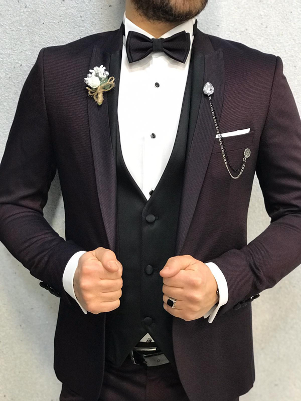 Damson Slim Fit Tuxedo by GentWith.com with Free Worldwide Shipping