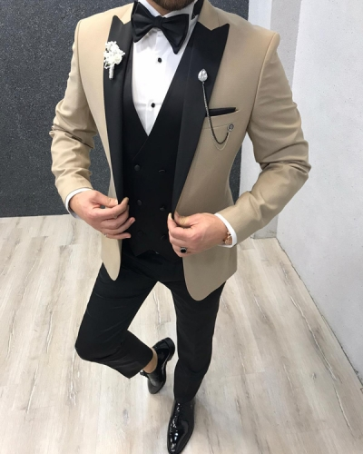 Gold Slim Fit Peak Lapel Tuxedo by GentWith.com with Free Worldwide Shipping