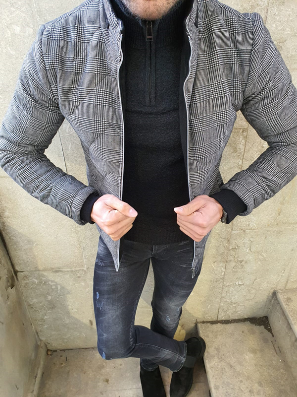 Gray Slim Fit Plaid Leather Coat by GentWith.com with Free Worldwide Shipping