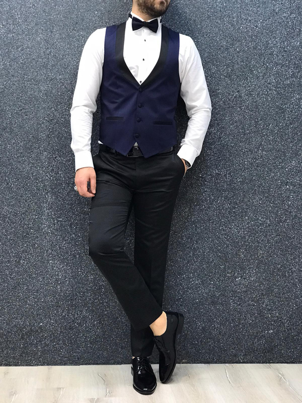 Blue Slim Fit Tuxedo by GentWith.com with Free Worldwide Shipping