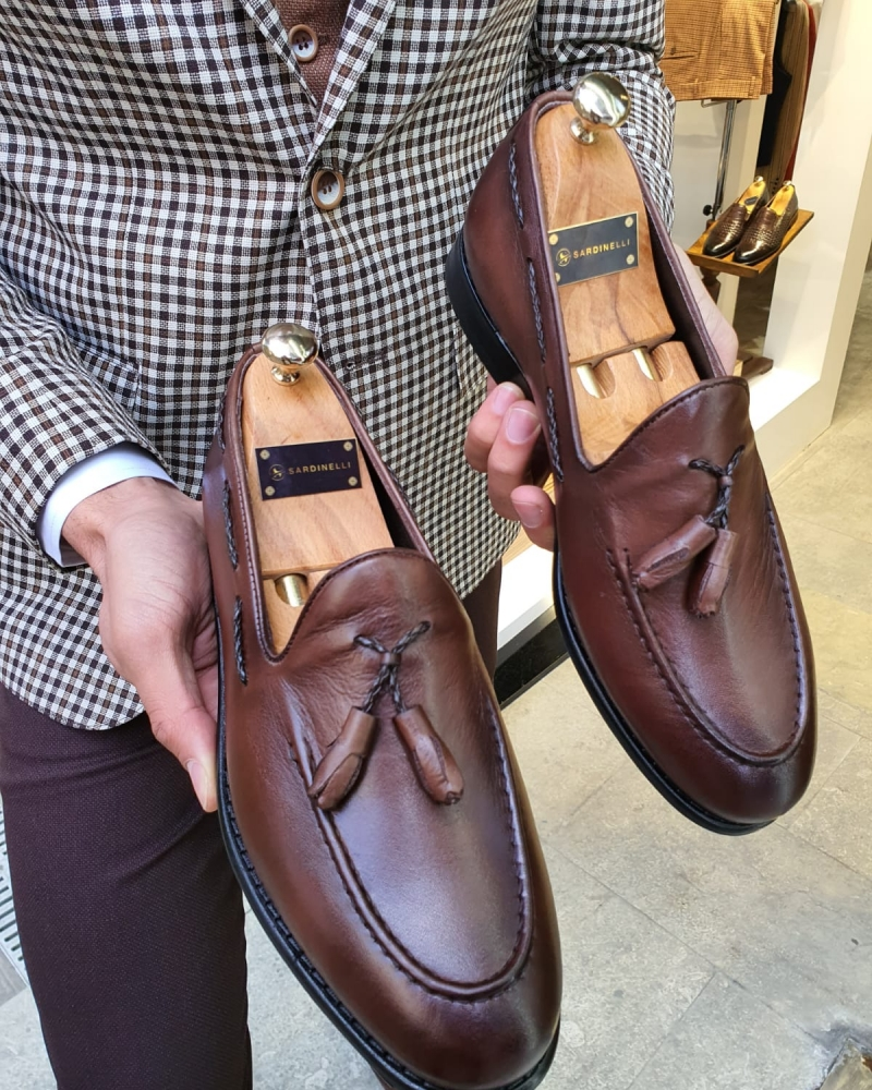 Brown Leather Tassel Loafer by GentWith.com with Free Worldwide Shipping
