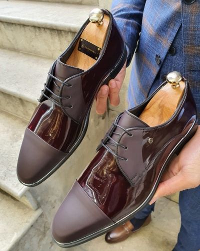 Burgundy Cap Toe Laced Blucher by GentWith.com with Free Worldwide Shipping