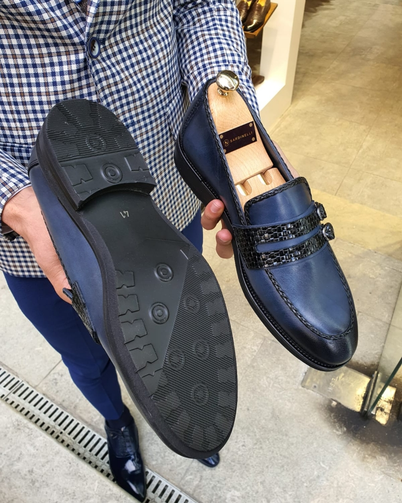 Navy Blue Buckle Loafer by GentWith.com with Free Worldwide Shipping