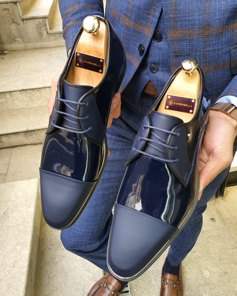 Navy Blue Cap Toe Laced Blucher by GentWith.com with Free Worldwide Shipping