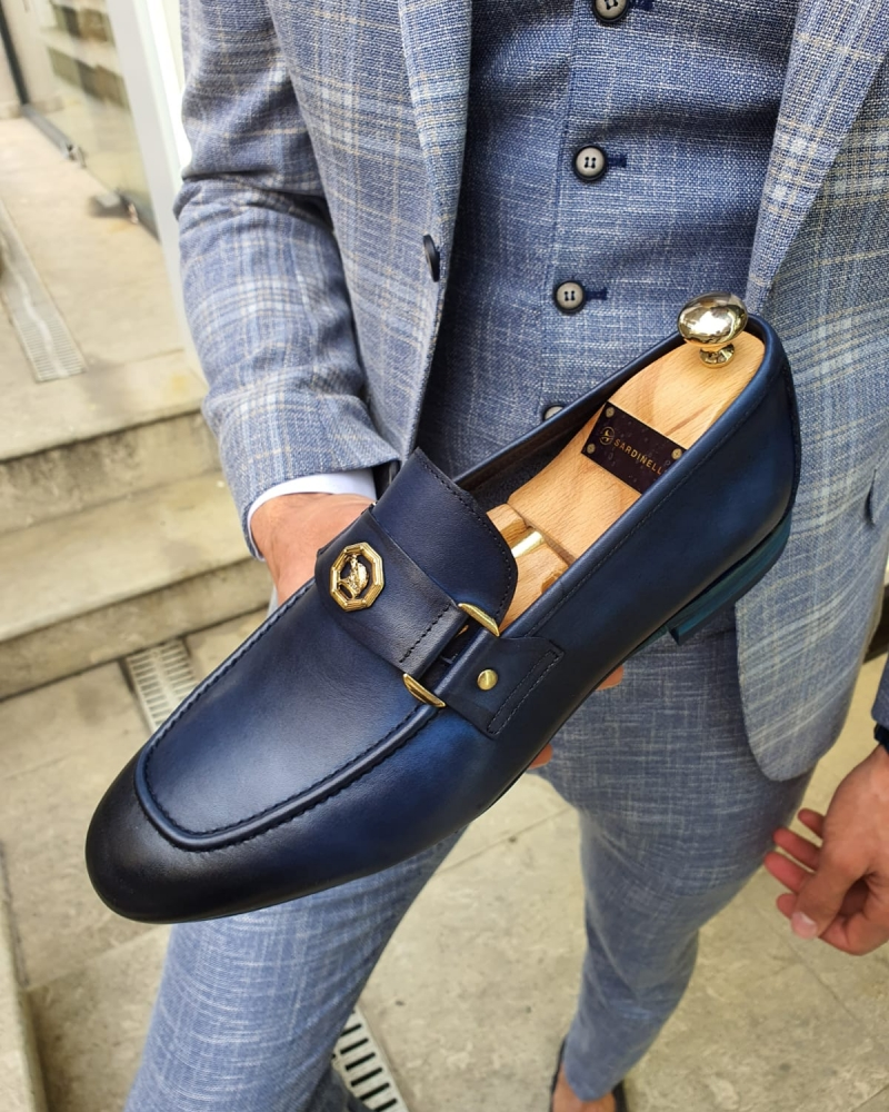 Navy Blue Loafer by GentWith.com with Free Worldwide Shipping