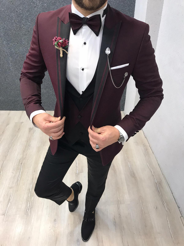 Burgundy Slim Fit Tuxedo by GentWith.com with Free Worldwide Shipping