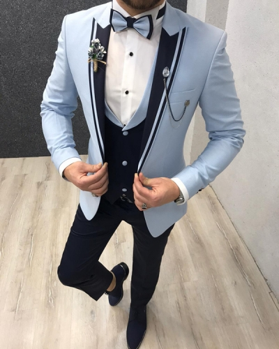Sky Blue Slim Fit Tuxedo by GentWith.com with Free Worldwide Shipping