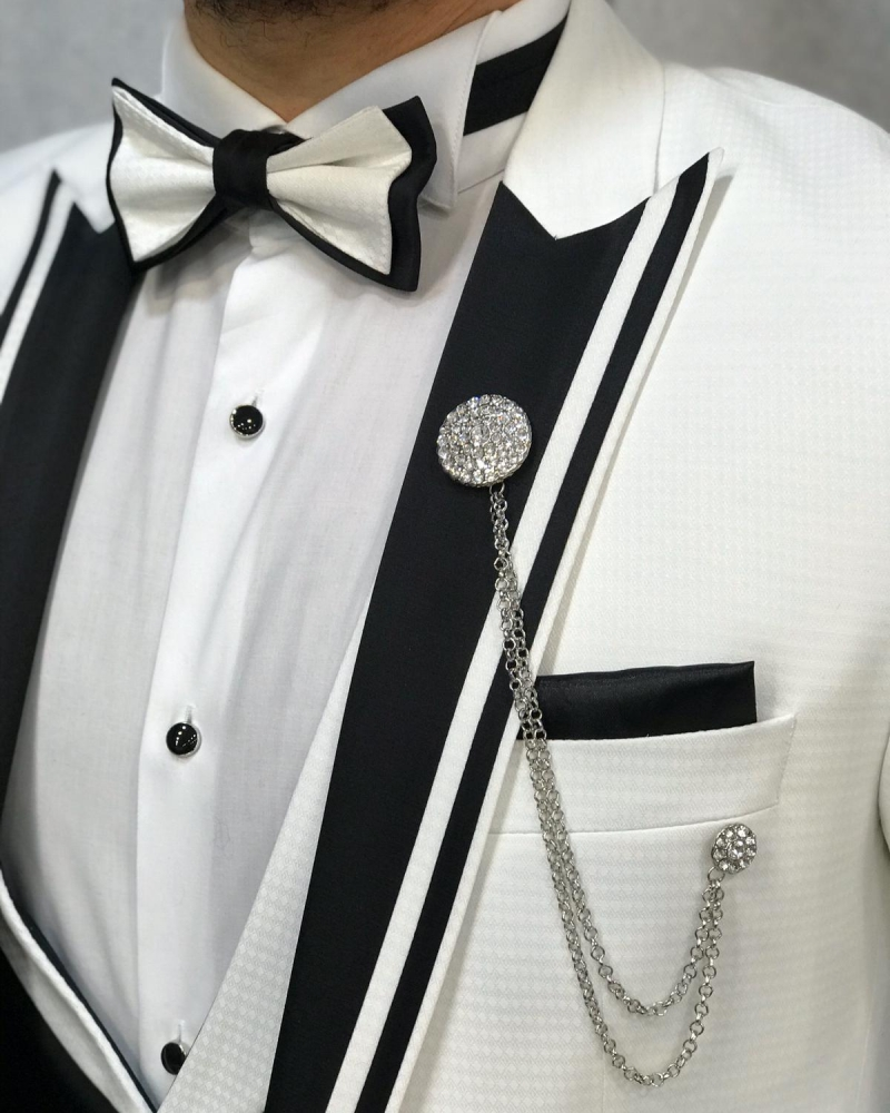 White Slim Fit Tuxedo by GentWith.com with Free Worldwide Shipping