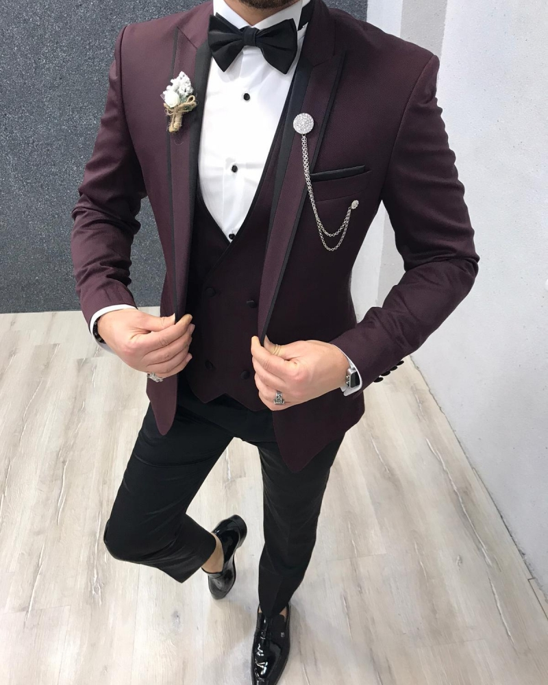 Claret Red Slim Fit Peak Lapel Tuxedo by GentWith.com with Free Worldwide Shipping
