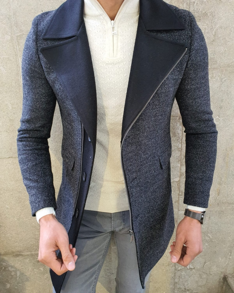 Anthracite Slim Fit Zipper Wool Coat Coat by GentWith.com with Free Worldwide Shipping