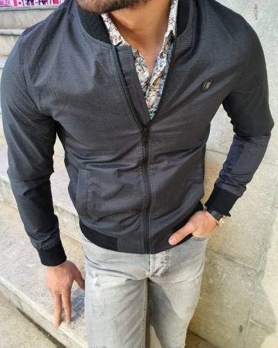 Black Slim Fit Patterned Coat by GentWith.com with Free Worldwide Shipping