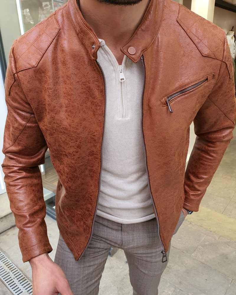 Camel Slim Fit Suede Leather Zipper Coat by GentWith.com with Free Worldwide Shipping