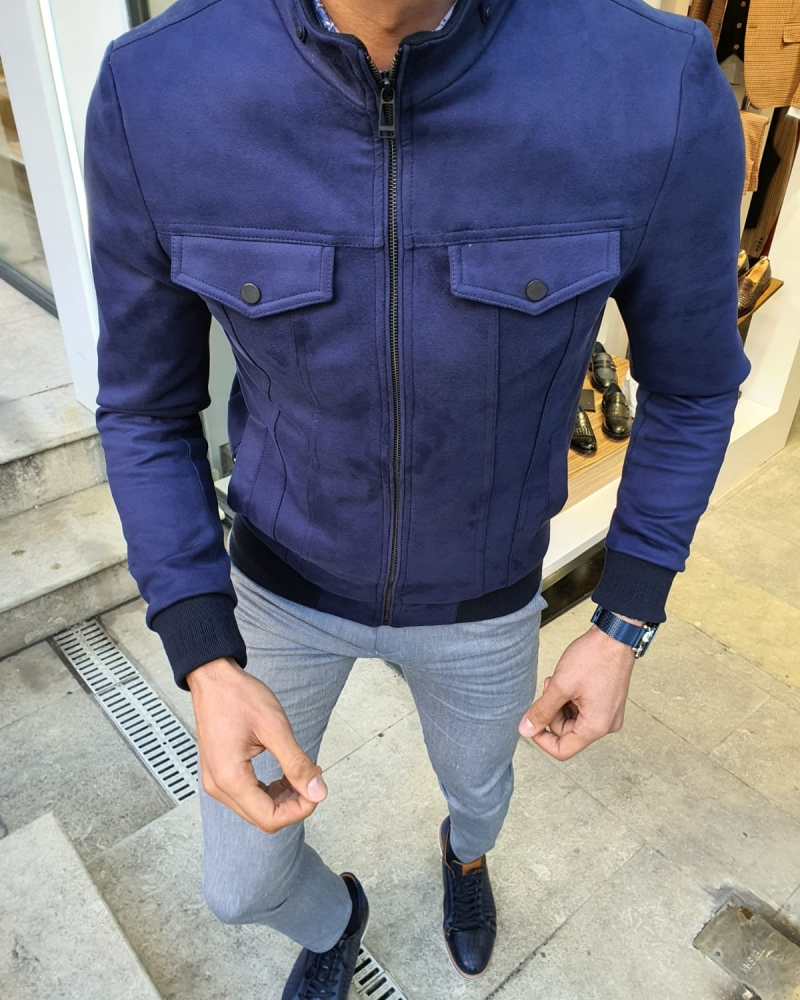 Indigo Slim Fit Suede Leather Coat by GentWith.com with Free Worldwide Shipping