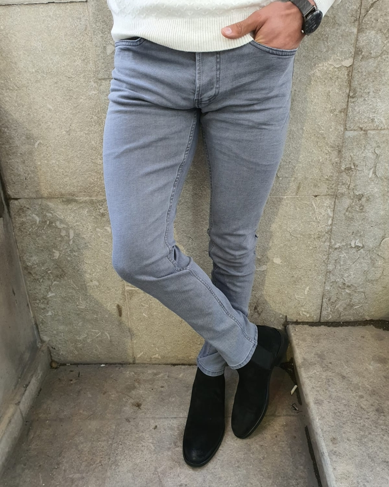 Gray Slim Fit Handmade Jeans by GentWith.com with Free Worldwide Shipping