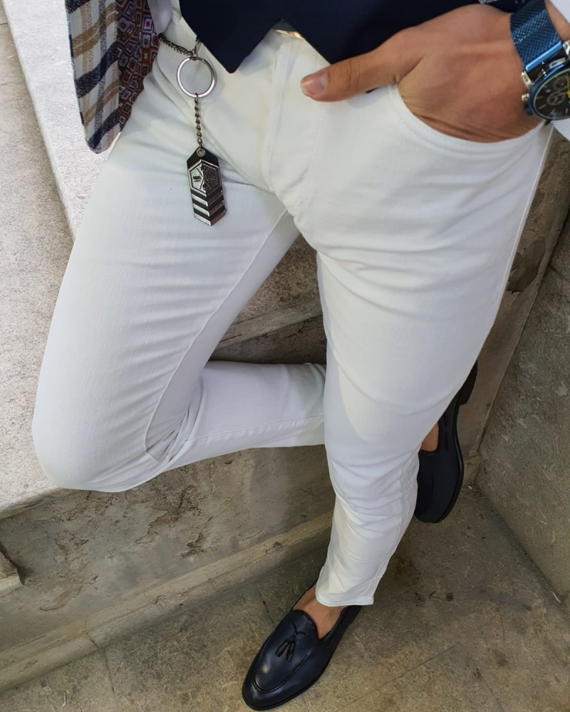 GentWith Oakland White Slim Fit Handmade Jeans (3)