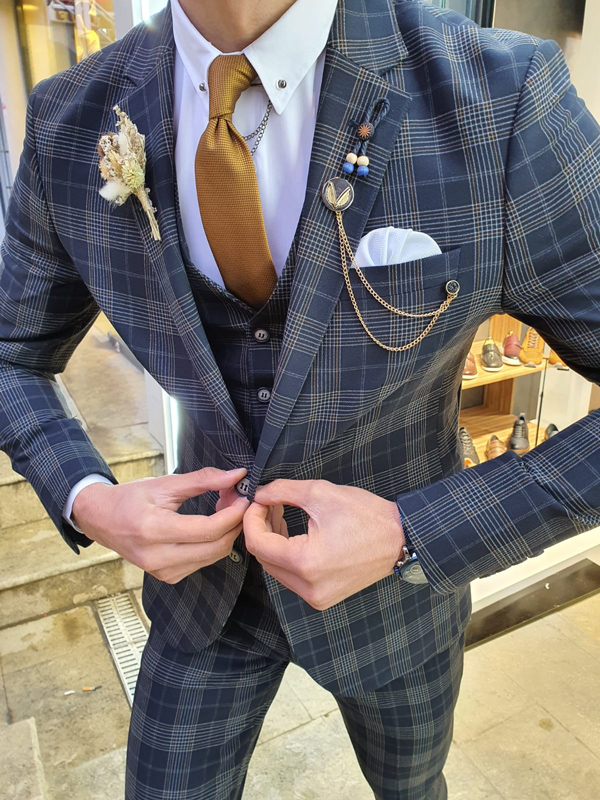 Dark Blue Slim Fit Plaid Check Suit by GentWith.com with Free Worldwide Shipping