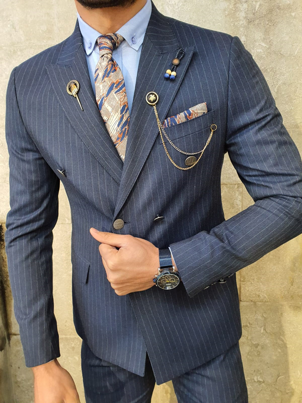 Navy Blue Slim Fit Double Breasted Pinstripe Suit by GentWith.com with Free Worldwide Shipping