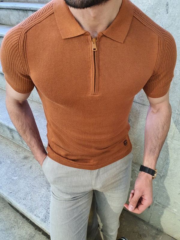 Brown Slim Fit Collar Neck Zipper T-Shirt by GentWith.com with Free Worldwide Shipping